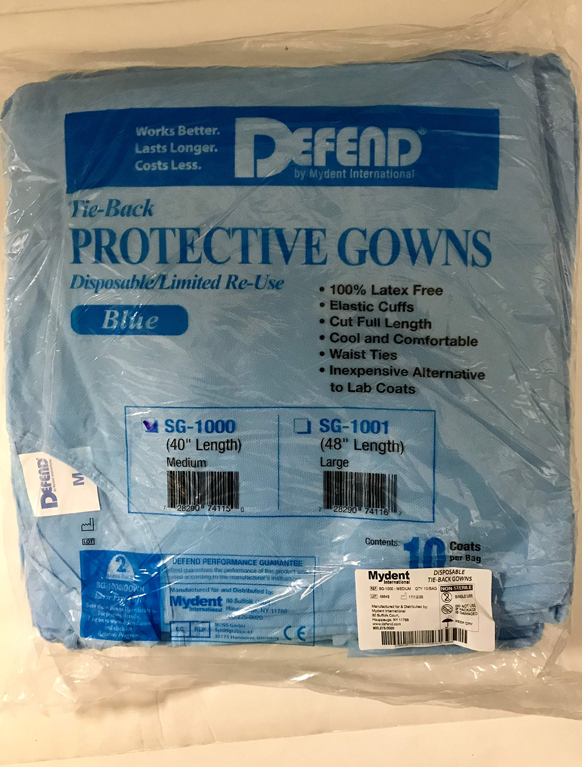 Defend Disposable Protective Lab Dental Gown Coat – (Medium)– 10 per bag by DEFEND (Image #1)