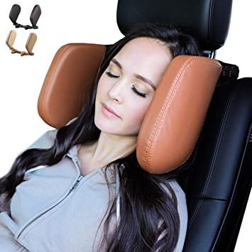 Caujon Car Headrest Pillow - Adjustable, Easy to Install, Side Cushion Car Seat Head Support for Kids and Adults, Car Sleeping Side Pillow for Travelling (Brown)