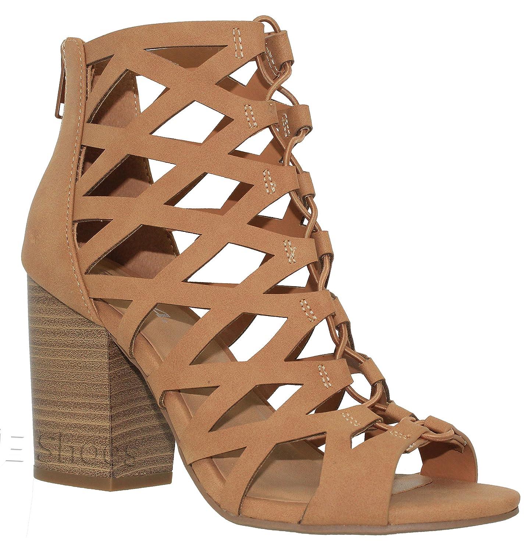 MVE Shoes Women's Open Toe Cut Out Mid Heel Sandal - Ankle Strap Faux Leather Dress Shoes - Sexy Stacked Sandal B0799RFHPM 10 B(M) US|Tan Nb*d