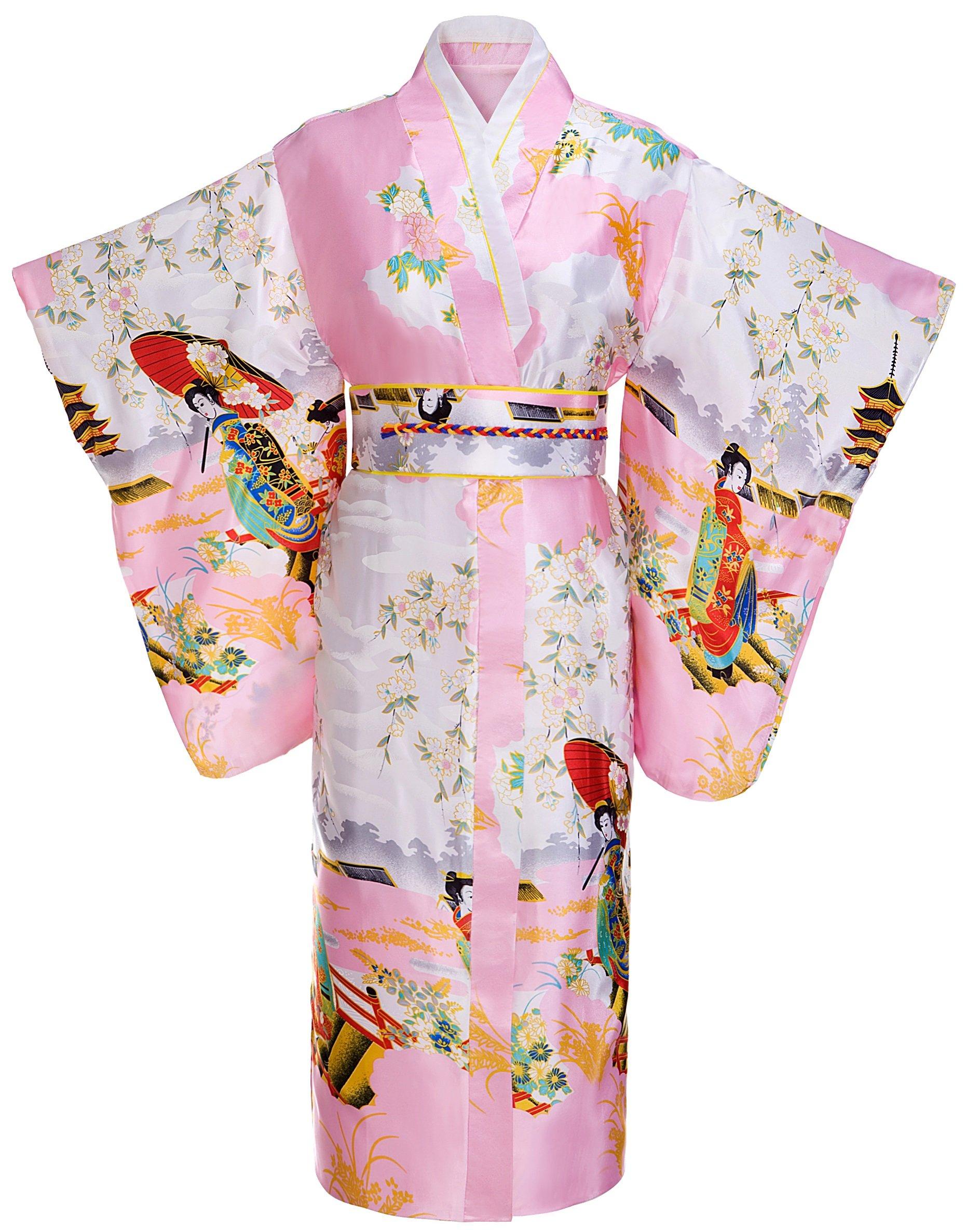 FADSHOW Women's Gorgeous Japanese Traditional Satin Kimono Robes/Nightgown Long