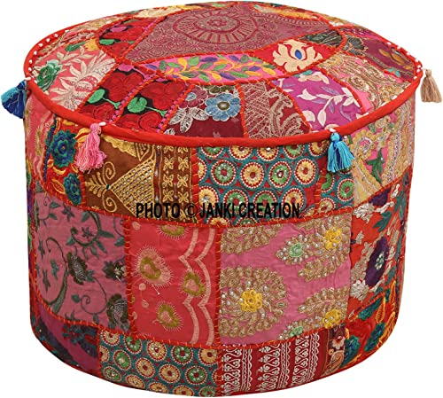 Indian Round Patchwork Embroidered Ottoman Pouf Bohemian Indian Decorative Patchwork Ottoman Pouf,Home Living Room Vintage Pouf Size 14 X 22 X 22 Inches Embellished Ottoman Stool Pouf Cover,Home Decor