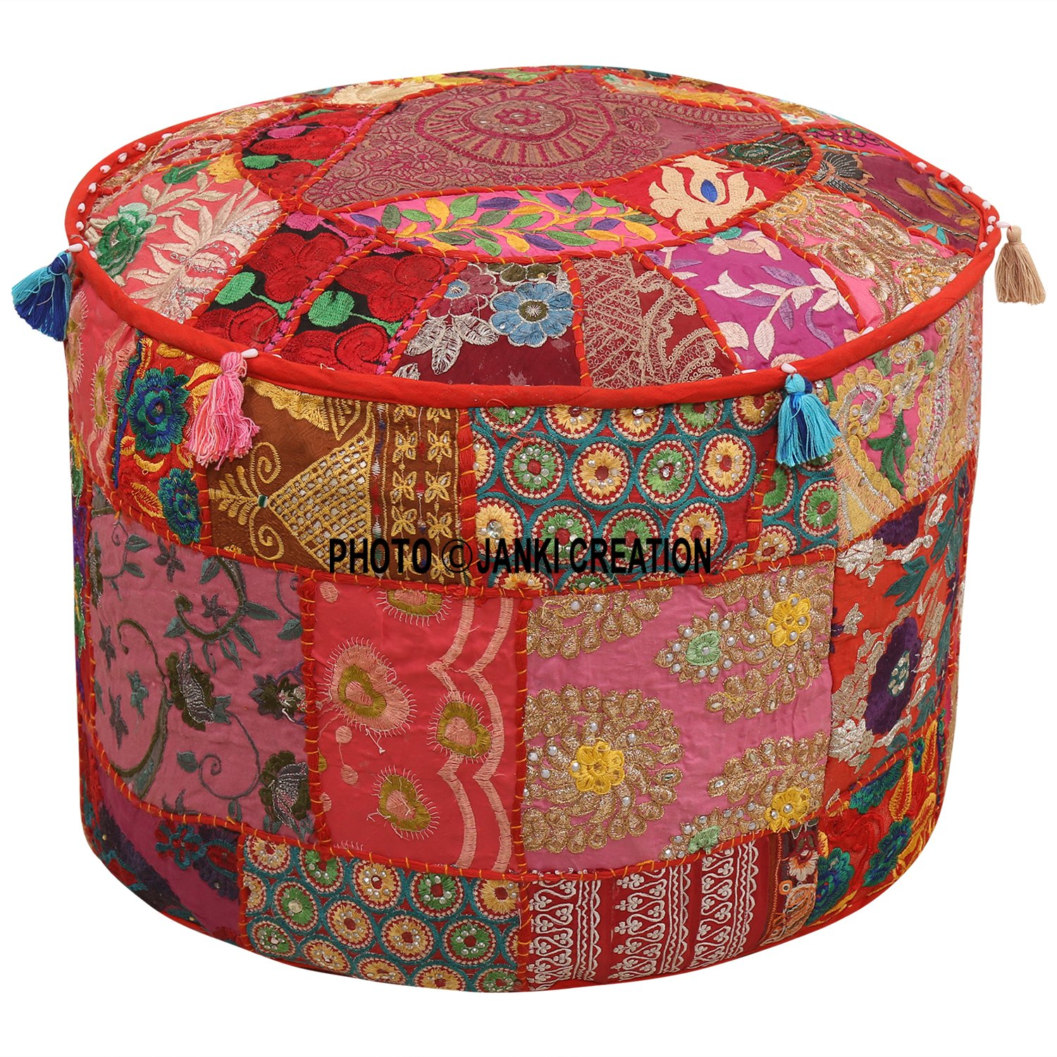 Indian Round Patchwork Embroidered Ottoman Pouf Bohemian Indian Decorative Patchwork Ottoman Pouf,Home Living Room Vintage Pouf Size 14 X 22 X 22 Inches Embellished Ottoman Stool Pouf Cover,Home Decor Janki Creation