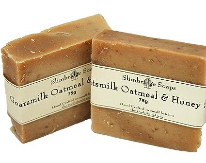 Slimbridge jabones leche de cabra jabón de avena y miel, 2 unidades