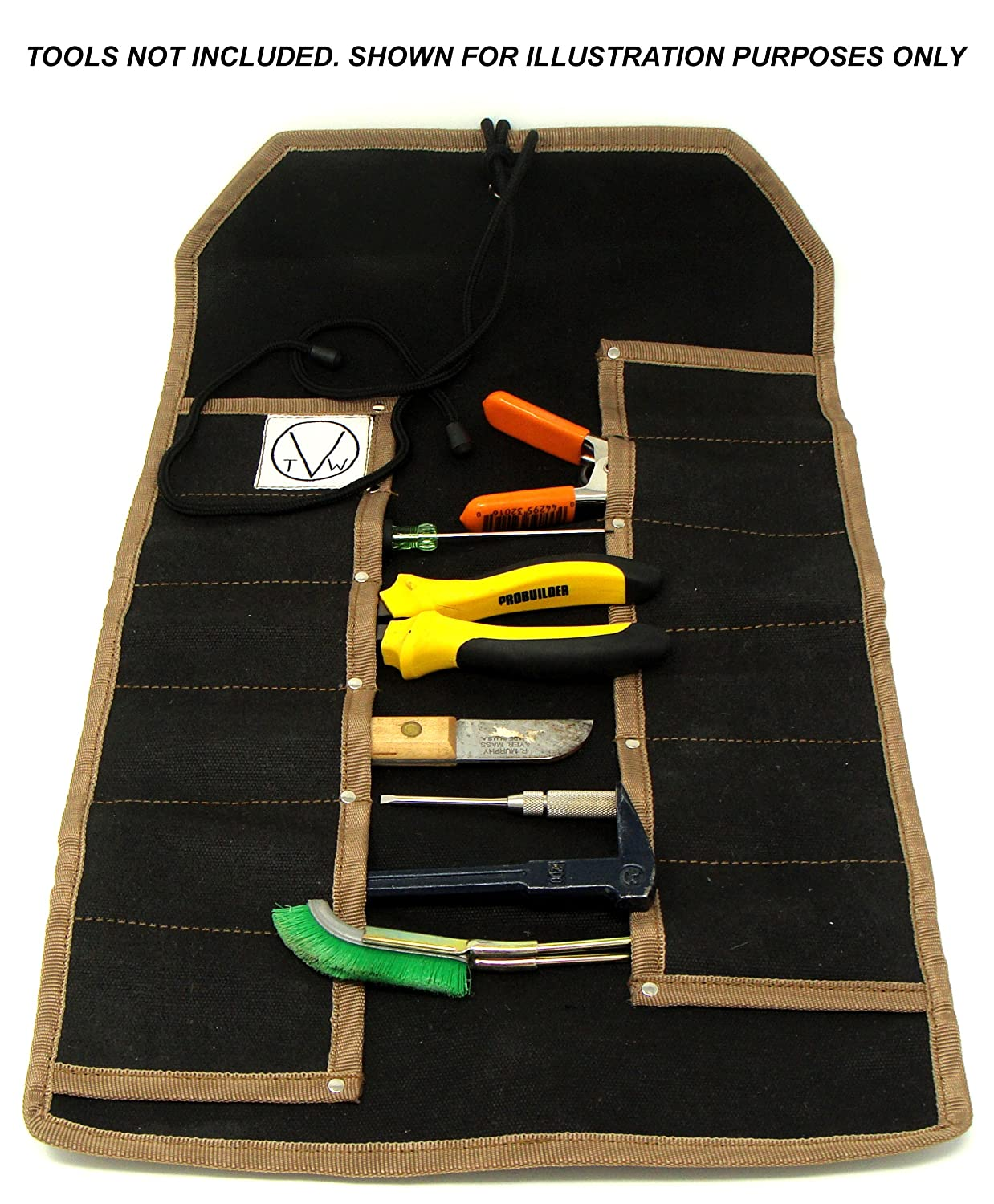 12 Pocket Waxed Canvas Tool Roll for Medium Sized Tools  For