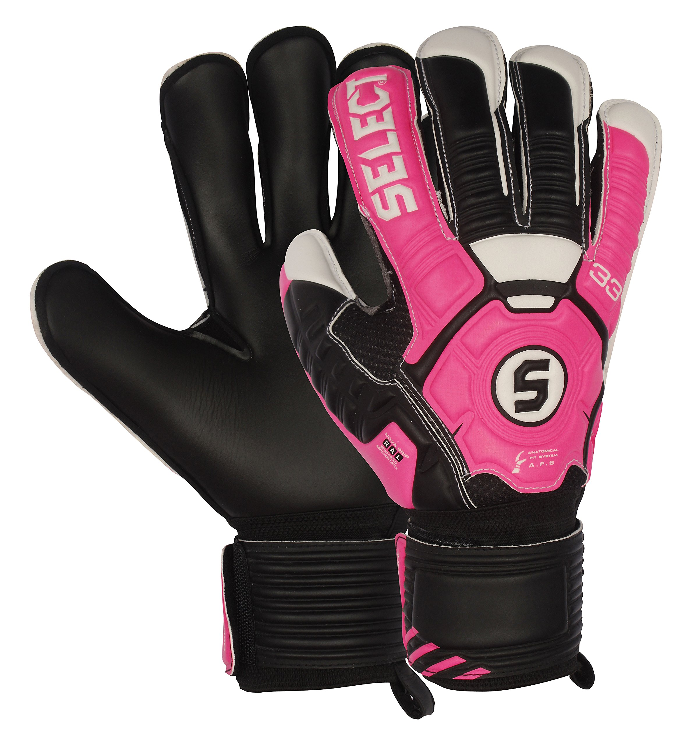 Select 33 All Round Goalkeeper Gloves with Finger Protection, Black/Pink/Cure, Size 8