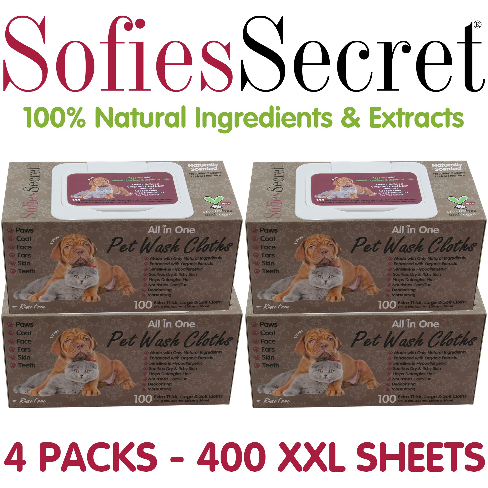 SofiesSecret Pet Wipes for Dogs+Cats ALL IN ONE,PP LID 400 Count, 100% Natural & Organic Extracts, Extra Thick, Ultra Soft, Extra Large,Hypoallergenic, Cruelty Free & Vegan