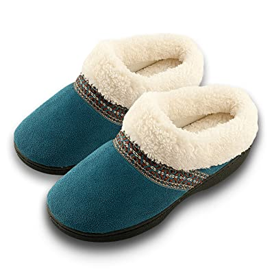 Roxoni Women's Slippers Suede Memory Foam Clog Slippers Plush Fleece Lined House Shoes | Slippers