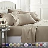 Danjor Linens 6 件套*店奢华柔软 1800 系列高级床单套装,深口袋,防*,防皱防褪色床上用品套装 灰褐色 King