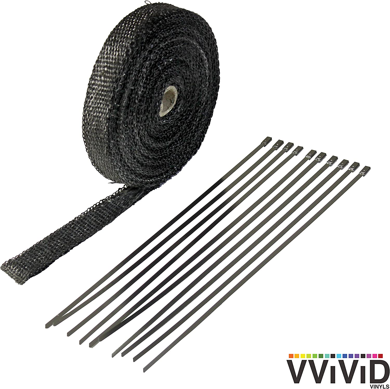 25FT Fiberglass Exhaust muffler Header Pipe Heat Wrap Tape Cloth 6 Tie Kit Black