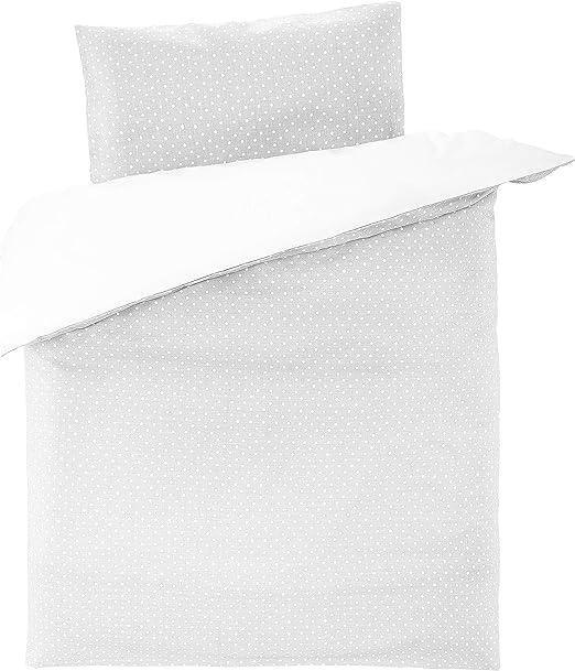 Fillikid - Funda Nórdica 100x135 cm y Funda Almohada 40x60 cm para Maxicuna de 70x140cm, 100% algodón, Certificado ÖkoTex- lunares gris y blanco