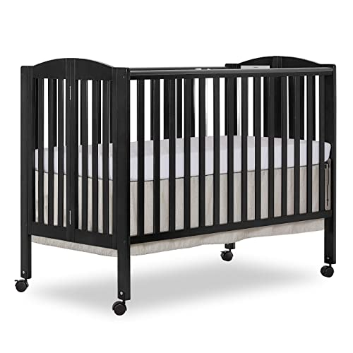 Dream On Me, Full Size 2-in-1 Folding Stationary Side Crib, Black
