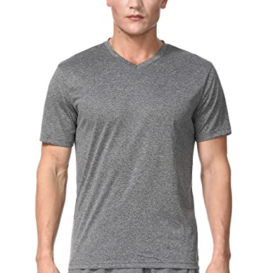 5c97060d COSSNISS Men's V Neck Running Shirts Short Sleeve Dry Fit Shirts for Athletic  Workout Training