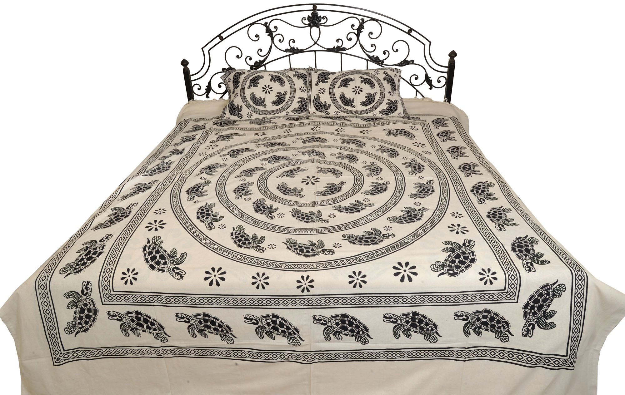 White and Black Vastu Bedsheet with Printed Mandala of Tortoises - Pure Cotton with Pillow Covers