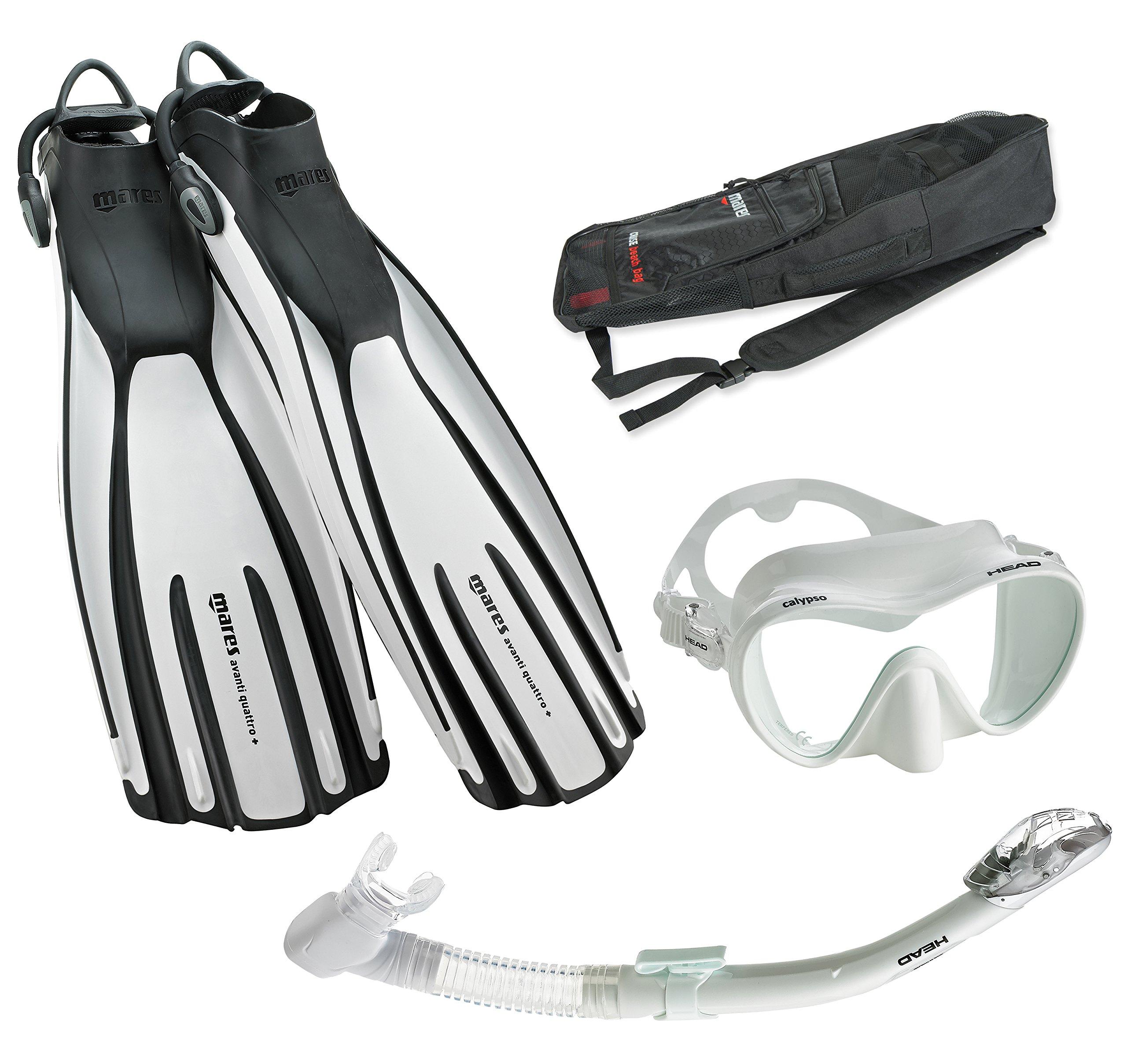 Mares Avanti Quattro Plus Fin Calypso Mask Dry Snorkel Set with Bag, White, Small
