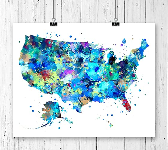 Modern Us Map.Amazon Com United States Map Art Print Poster Wall Art