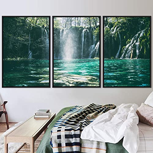 signwin 3 Piece Framed Canvas Wall Art Forest Waterfalls Canvas Prints Home Artwork Decoration