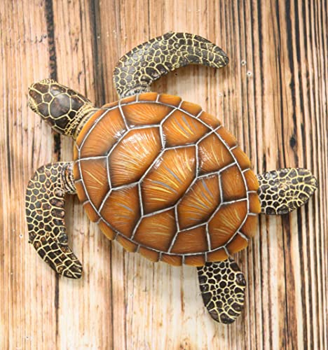 Ebros Nautical Coastal Marine Swimming Brown Sea Turtle Wall Decor Hanging Plaque Figurine 11.25 Long Symbol of Longevity and Luck Home Decorative for Ocean Beach Wildlife Nature Lovers