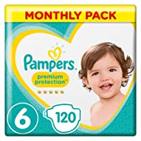 Pampers Premium Protection Size 6, 120 Nappies, (13+ kg)/(15kg+) Monthly Pack