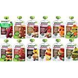 Sprout Organic Baby Food, Stage 2 Pouches, 12 Flavor Fruit Veggie & Grain Variety Sampler, 3.5 Oz Purees (Pack of 12) - Flavo