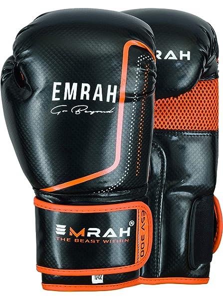 EMRAH ESV-300 Guantes de Boxeo Muay Thai Training Hide Leather Sparring Sacos de Boxeo Mitones Kickboxing Lucha (Naranja, 10 oz): Amazon.es: Deportes y aire libre