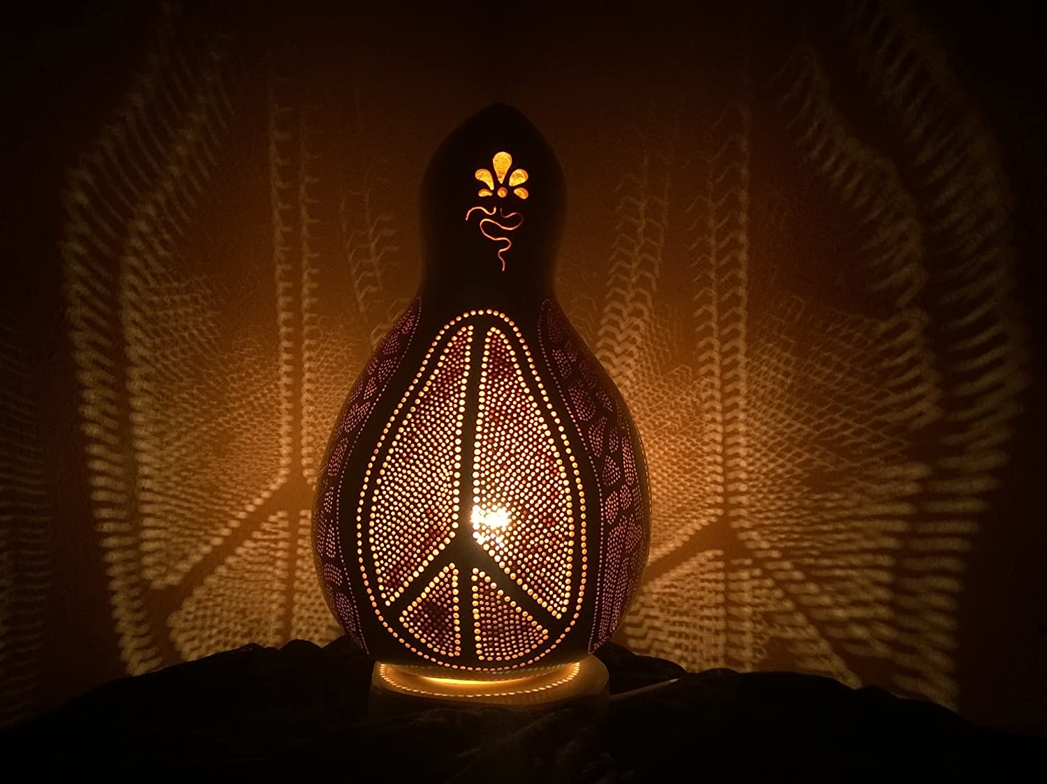 Peace of Mind   Fine Handmade Gourd Lamps Night light Living Room Decor Unique Gift Ideas