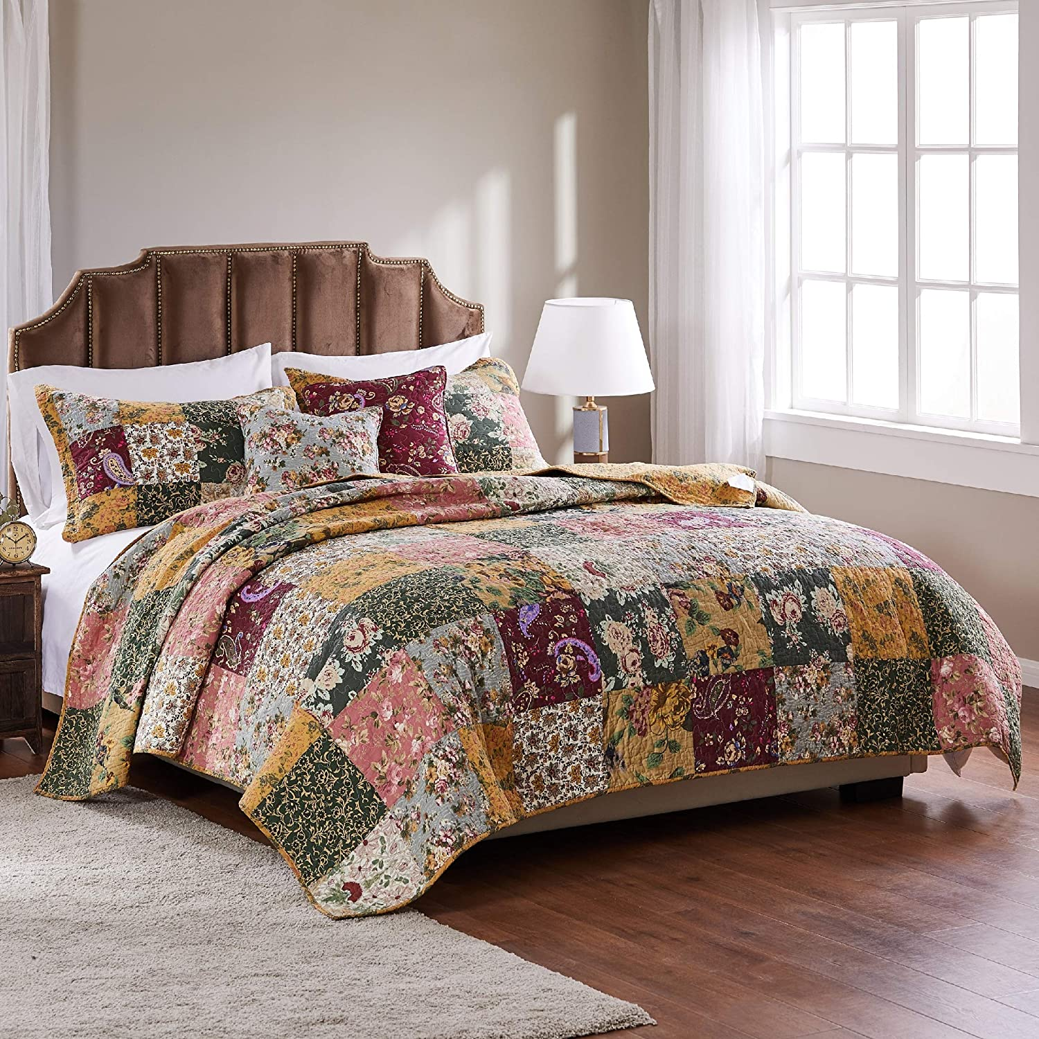 Greenland Home Antique Chic Cotton Patchwork Quilt Set, 5-Piece Full/Queen, Multi