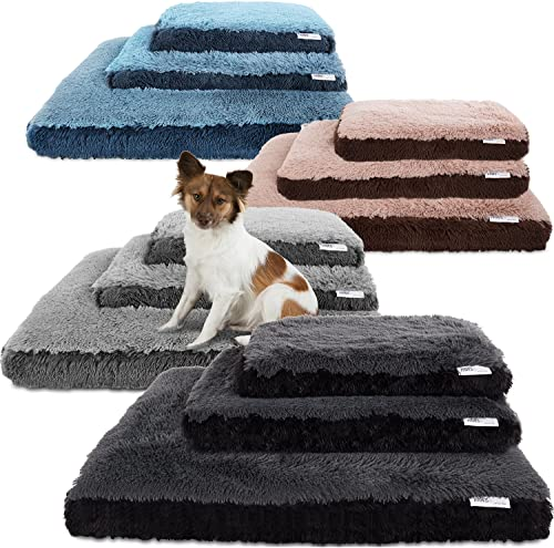 Paws Pals Dog Bed for Pets Cats – Fuzzy Foam Deluxe Premium Bedding Cuddler Lounger Two-Toned Design for Home Crate Small, Black