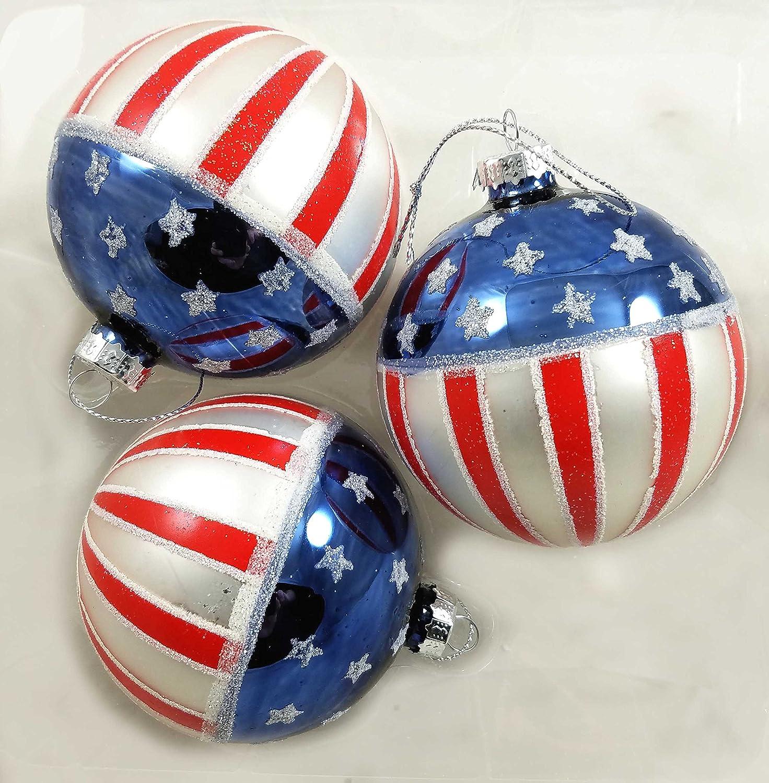 Amazon Com Kurt Adler Usa Flag Americana Glass Ball Ornaments Box Set Of 3 New In Box Patriotic Home Kitchen