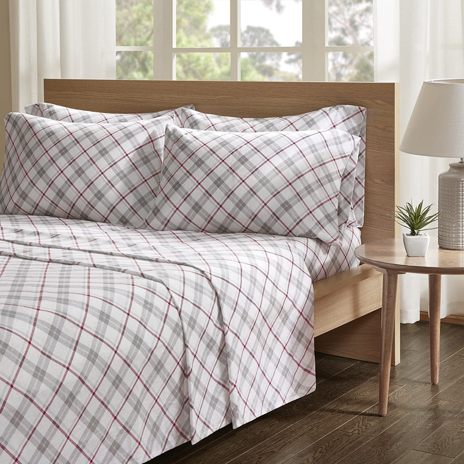 Amazon Com Comfort Spaces 100 Cotton Flannel Soft Deep Pocket Bedding Sets 6 Pieces 1 Fitted 1 Flat 4 Pillow Cases King Size Sheets Plaid Red Grey Home Kitchen