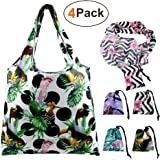 Foldable Reusable Grocery Bags Cute Designs, Folding Shopping Tote Bag Fits in Pocket (4 Pack String Pouch)