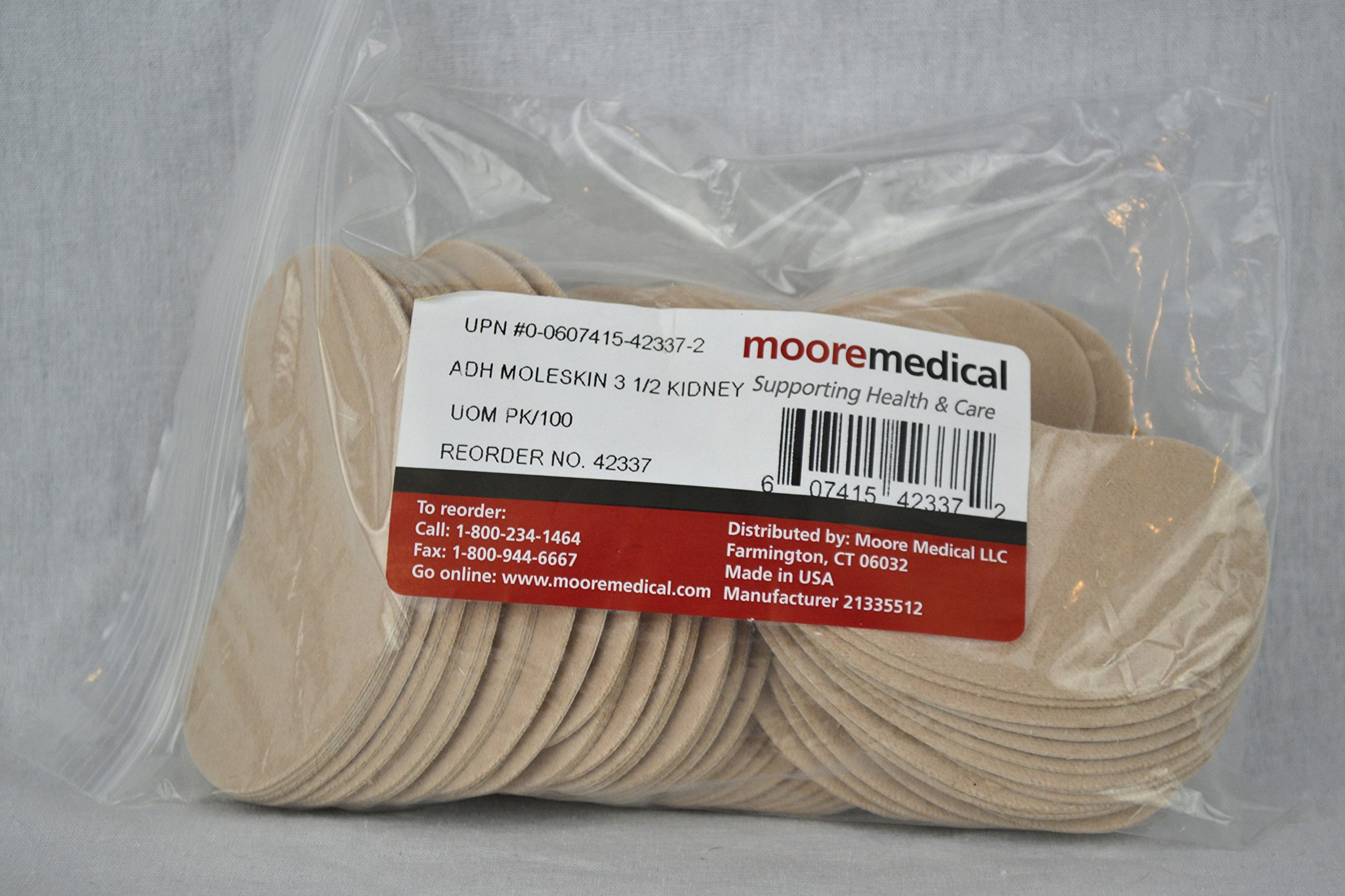 Moore Medical Moleskin Precut Pads Kidney 3 1/2'' - Pkg of 100
