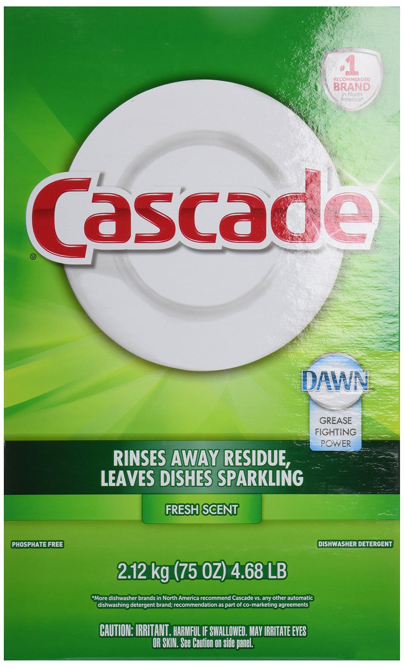 Cascade Fresh Scent Powder Dishwasher Detergent, 75 Ounce - 7 per case.