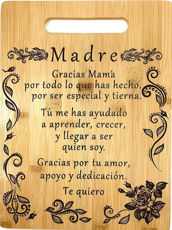 Gift for mom Spanish-Regalo para el poema de mamá-Tabla de cortar de bambú grabada única