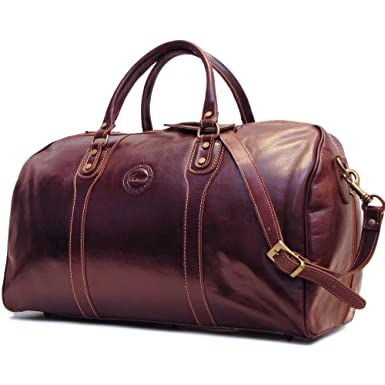 c4fca479f944 Cenzo Duffle Vecchio Brown Italian Leather Weekender Travel Bag