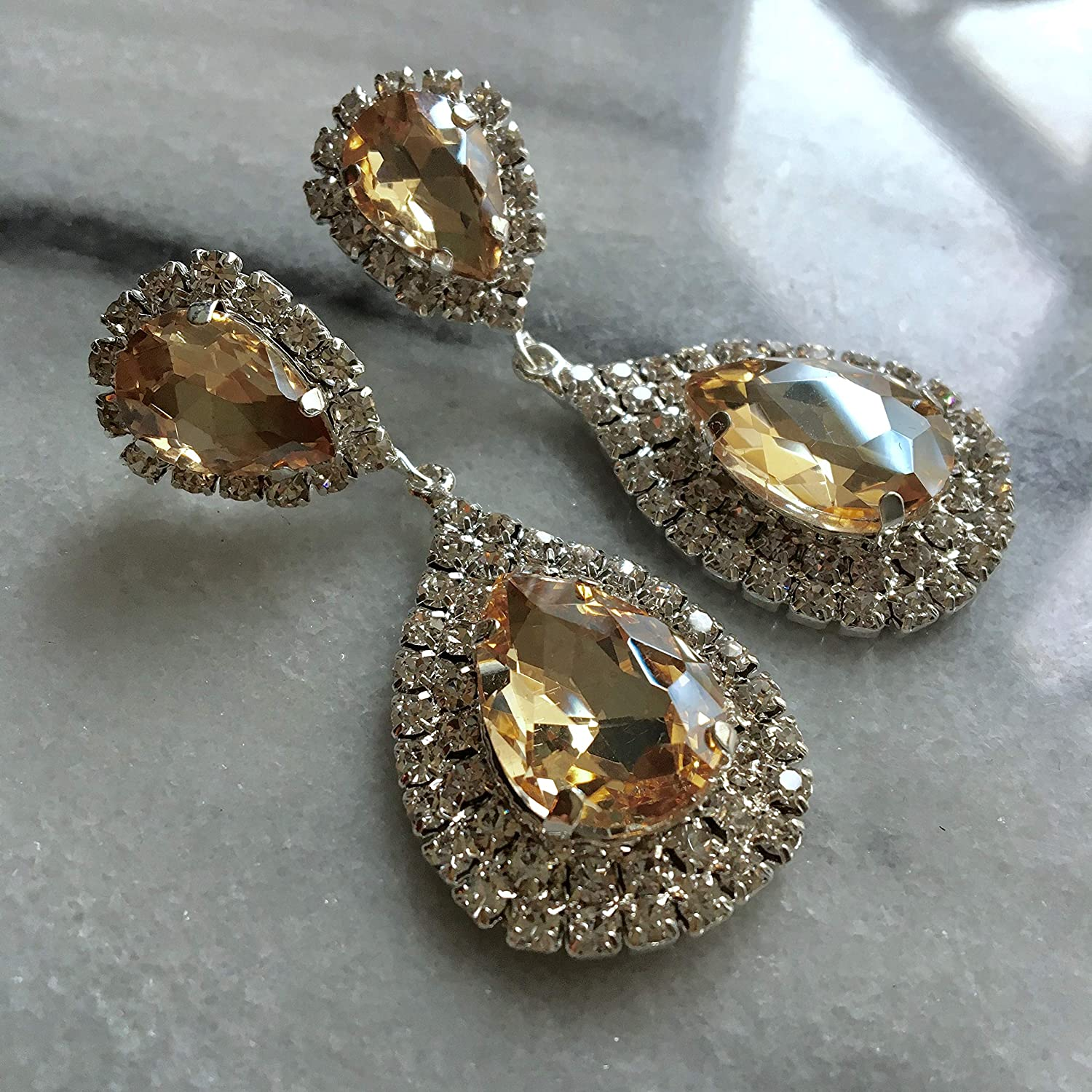 Crystal Vintage Art Deco Style Earrings,Bohemian,Drop Dangle,40s 50s Hollywood Glamour,1920\u2019s Gatsby,Showgirl,Pageant,Prom,Bridal,Burlesque