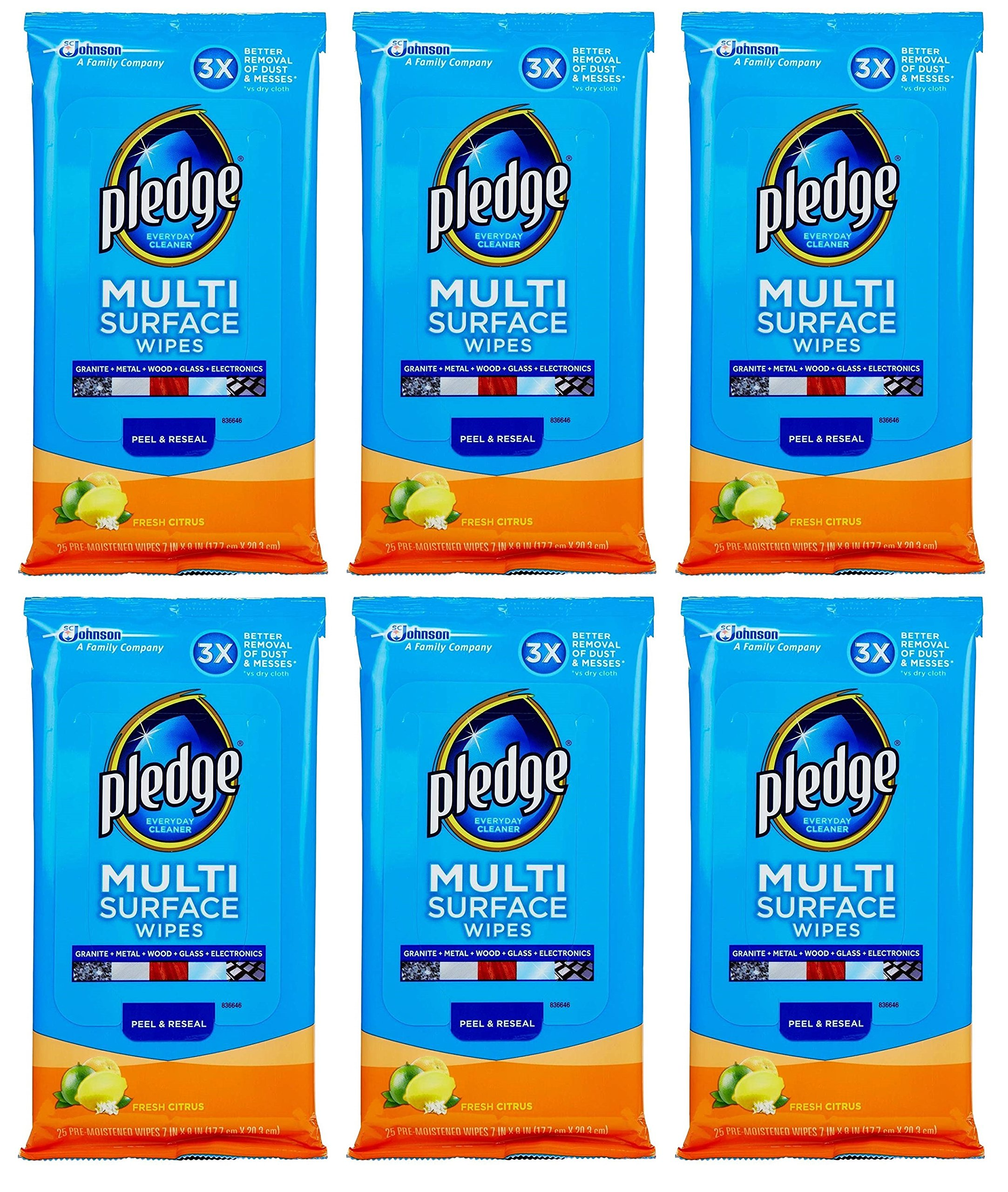 Pledge Multi Surface Everyday Wipes 25 ea (Pack of 6) by Pledge