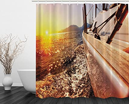 Amazon.com: Brownish Shower Curtain Gifts for Men Sailboat Ocean ...