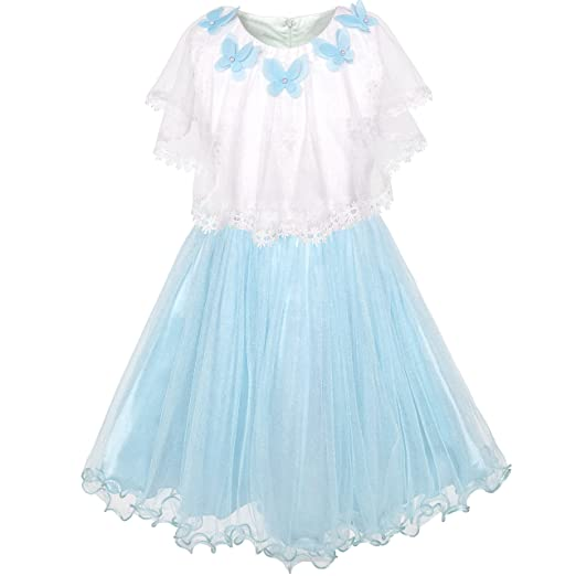 5f451eb4d2 Amazon.com: Sunny Fashion LC76 Girls Dress Cape Dress Blue Butterfly  Princess Wedding Pageant Size 12: Clothing