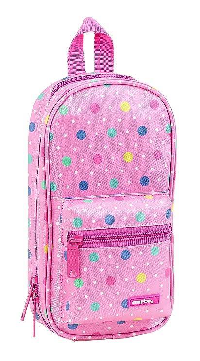 Safta Neceser Con 4 Estuches Safta Dots Pink Oficial 120x50x230mm, 2018, multicolor, poliéster