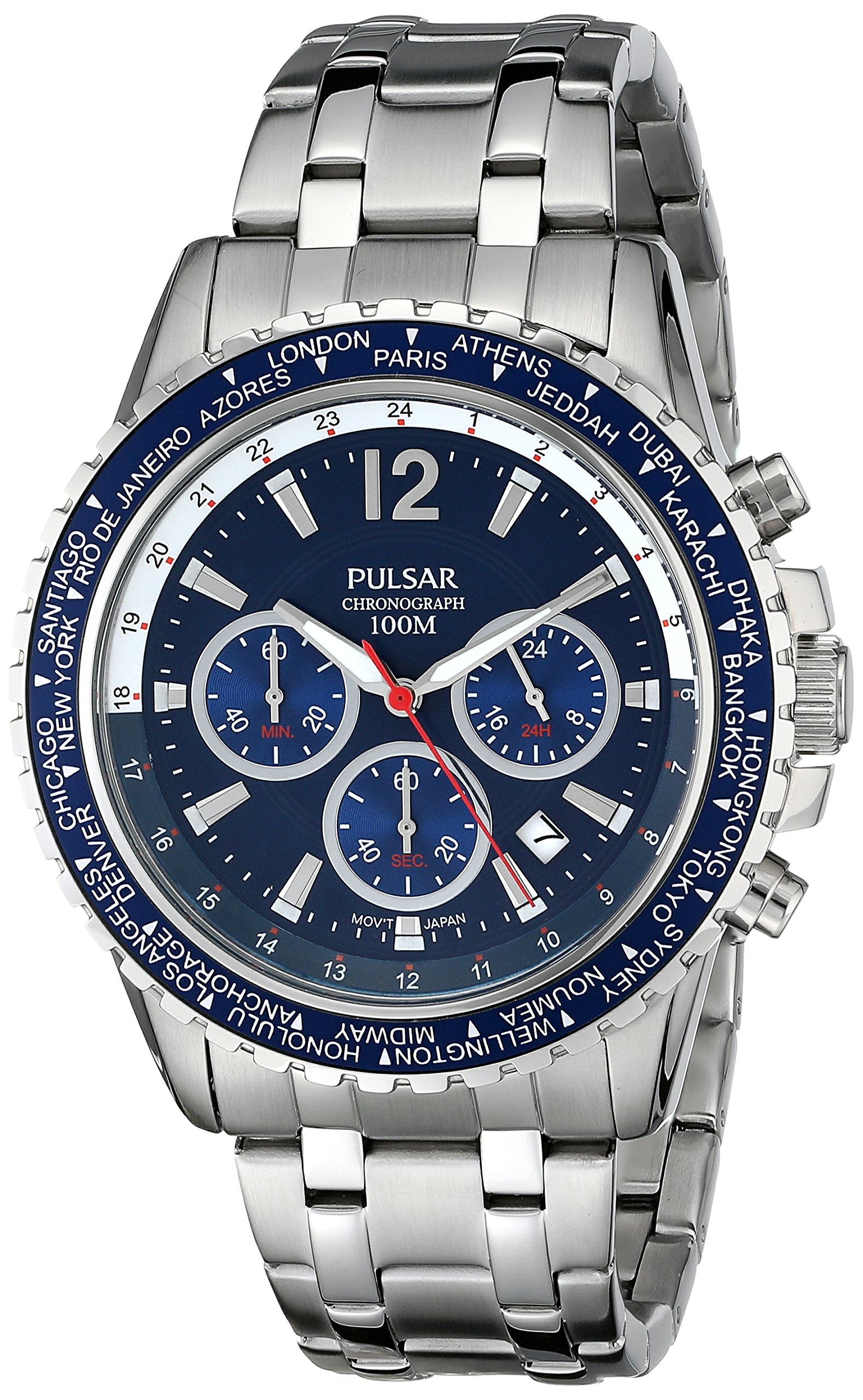 Pulsar Men's PT3579 Analog Display Japanese Quartz Silver-Tone Watch by Pulsar