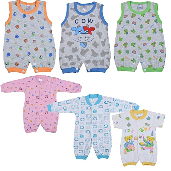 2d8c024ec Baby Clothes for New born Infant Girl Boy Cotton Rompers Bodysuit Onesies  Clothing Set , Gift []Pack of 6] (LBNS036 , 0 - 6 Months): Amazon.in:  Clothing & ...