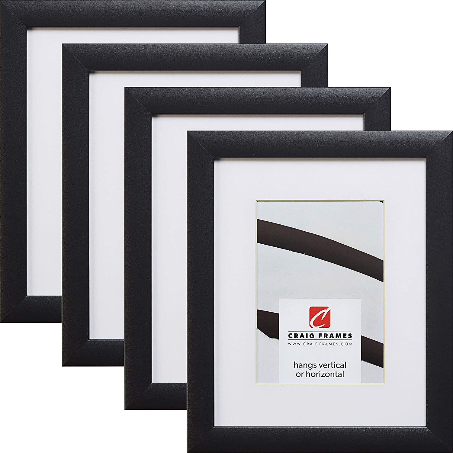 Craig Frames Contemporary, 20 x 24 Inch Black Picture Frame Matted to Display a 16 x 20 Inch Photo, Set of 4
