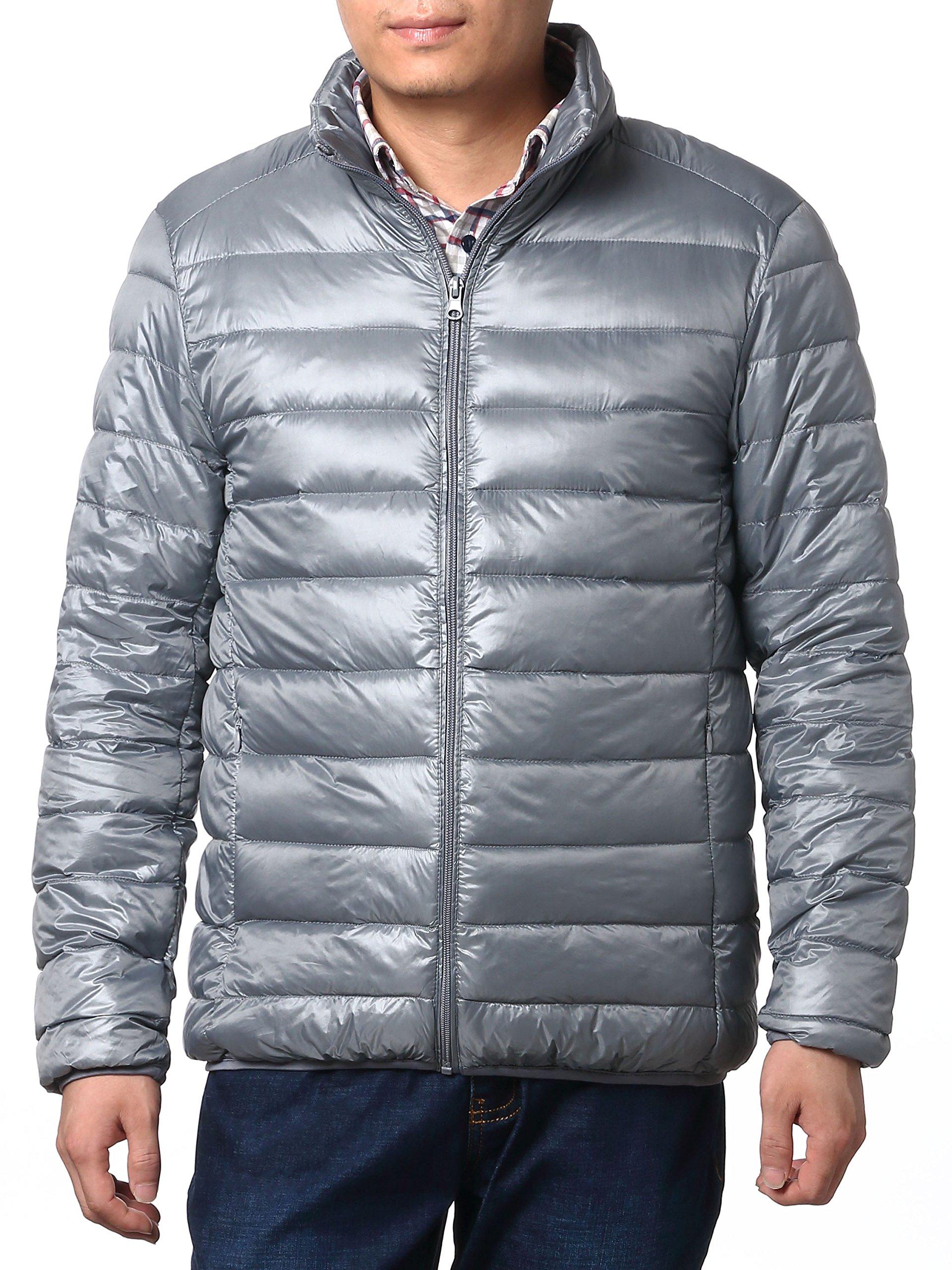 Multicolor Jackets Lightweight Puffer Jacket,Packable Down Jacket for Men (XXL, Sliver)
