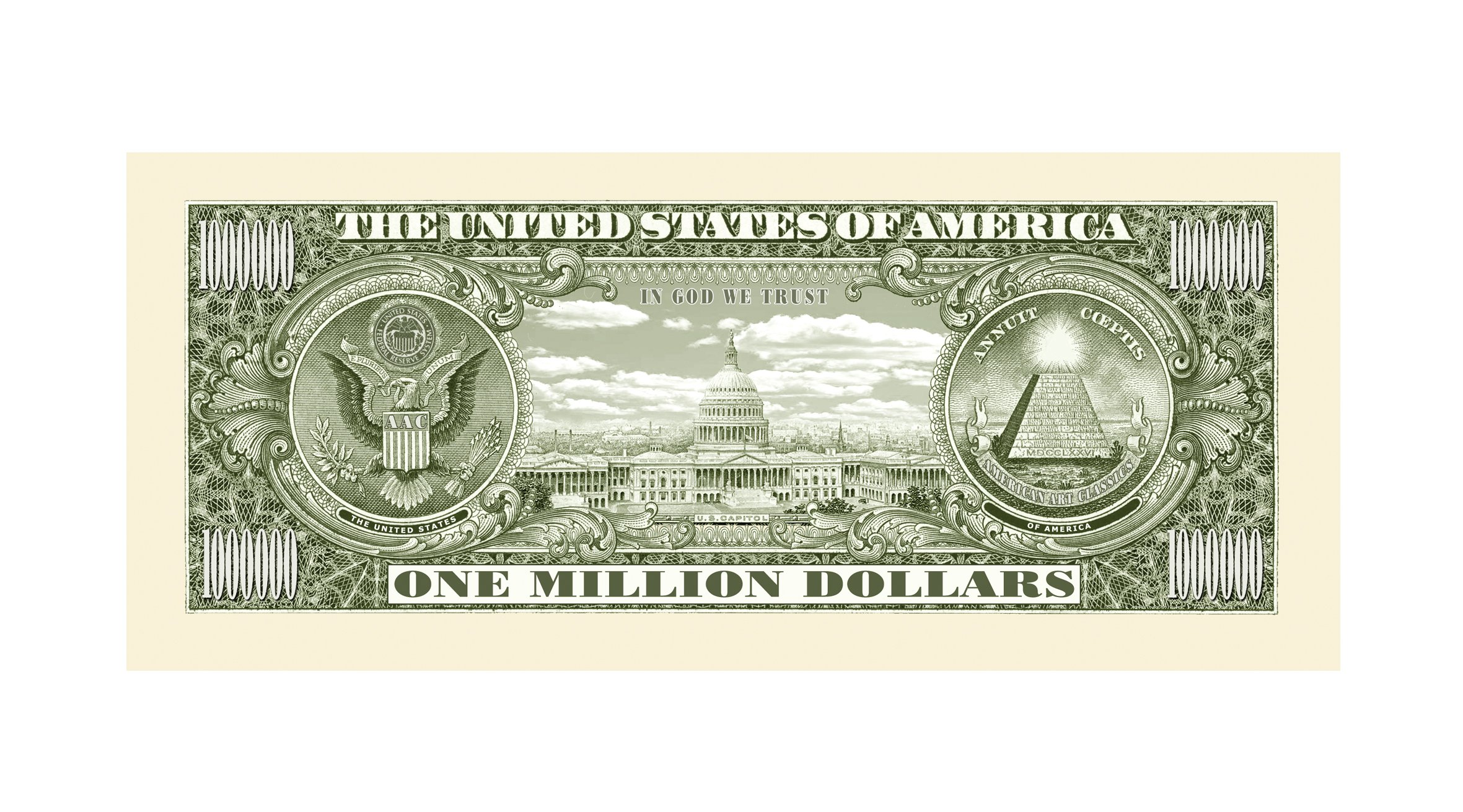 American Art Classics Traditional Million Dollar Bill - Wholesale Pack of 1000 Bills by American Art Classics (Image #3)