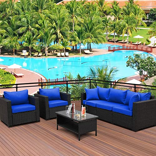 4 Pieces Patio PE Wicker Furniture Set Resin Rattan Outdoor Conversation Sofa Sets Sectional Couch