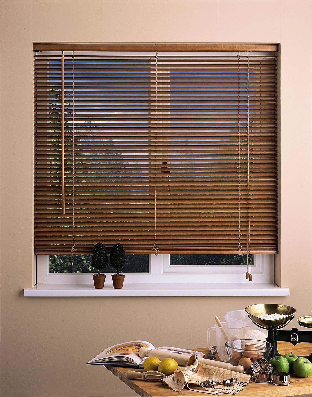 Oak 105cm Wide x 160cm Drop UNIVERSAL 50mm Wood Venetian Blind