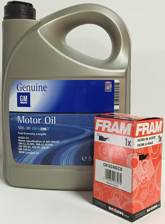 ACEITE MOTOR GM General Motor OPEL Oil 5w30 5 Litros + filtro aceite FRAM CH10246ECO para motores gasolina 1.2i 16v, 1.4 16v, 1.6 16v, 1.8i 16v, ...