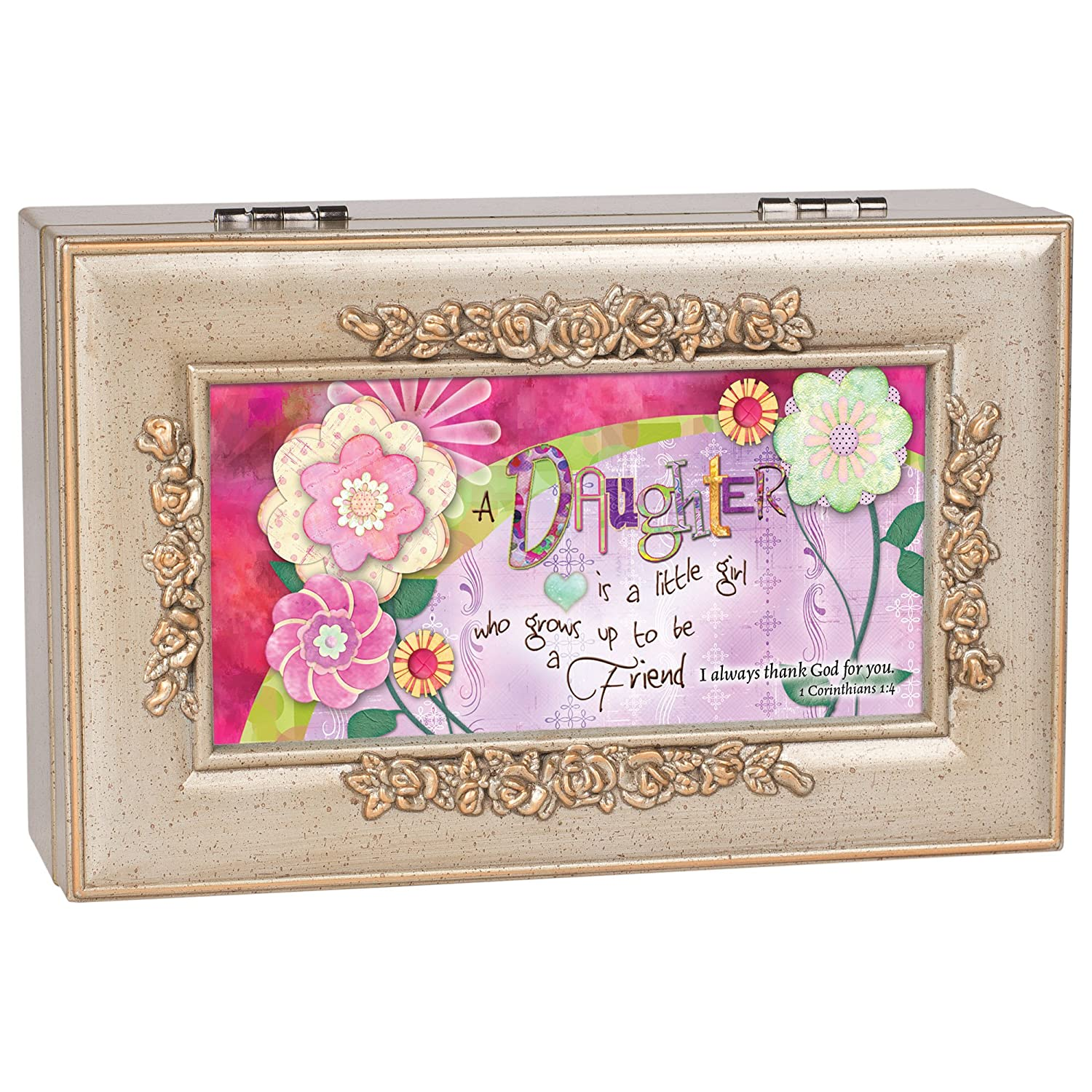 Cottage Garden Daughter Champagne Silver Inspirational Petite Rose Music Box Plays Amazing Grace