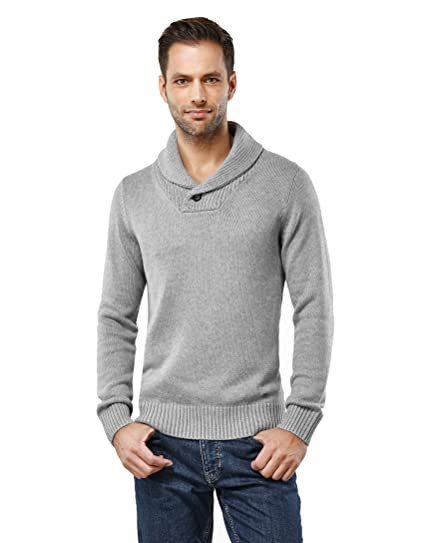 Vincenzo Boretti Mens Pull-Over Knitted Long-Sleeve Jumper Chunky Knit Buttoned Shawl Collar Warm Cotton-Blend Plain Colour Elegant Style for Business Work and Everyday Casual