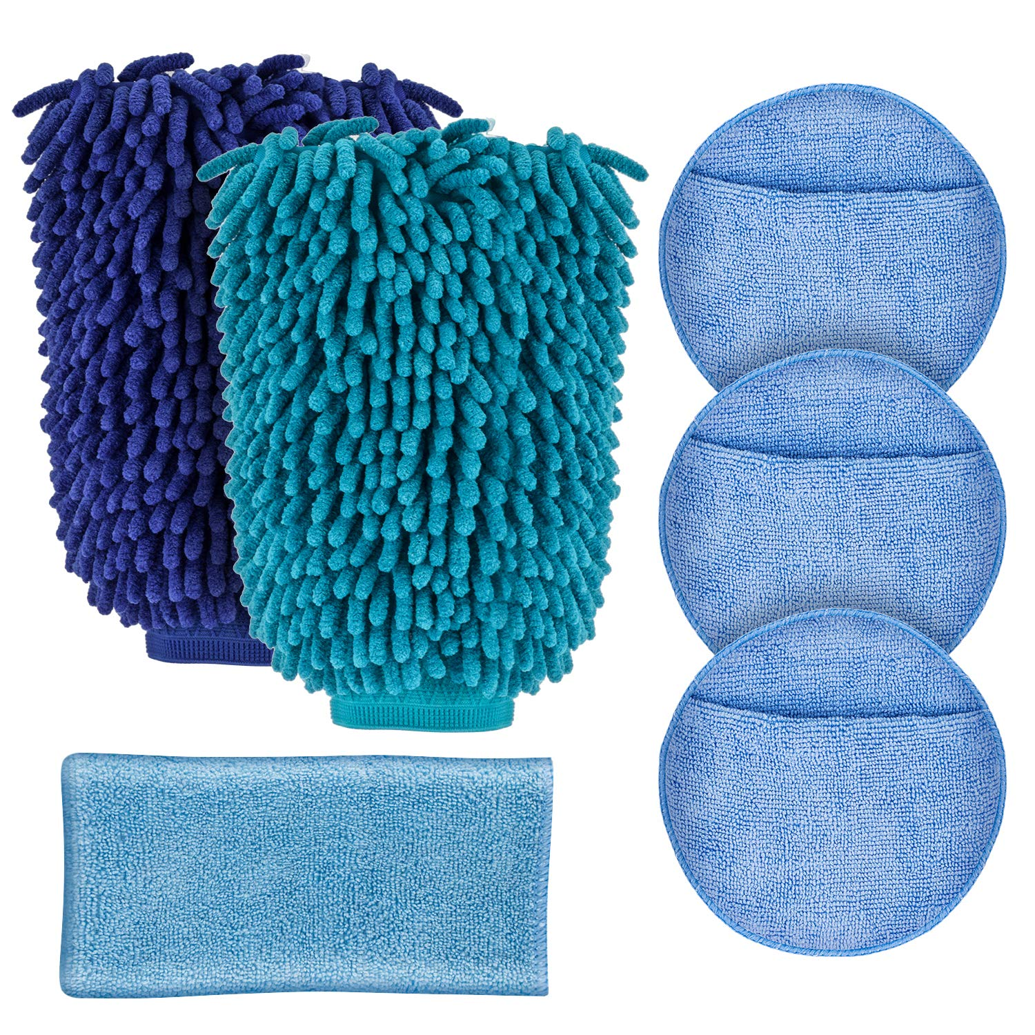 JIAFENG Car Cleaning Kit 6PCS - Car Wash Mitt-2 Pack Extra Large Size,Chenille Microfiber,Car Care Microfiber Wax Applicator Pads, Car Wash Towels Drying Cleaning Cloth,Scratch Free,Lint Free